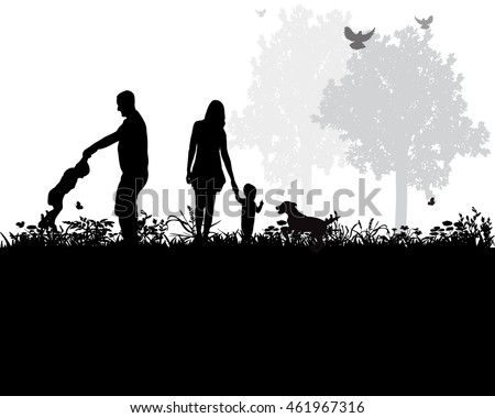vector, isolated, silhouette of a family playing with the dog in nature