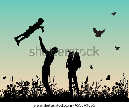 vector, isolated,silhouette of happy family on nature