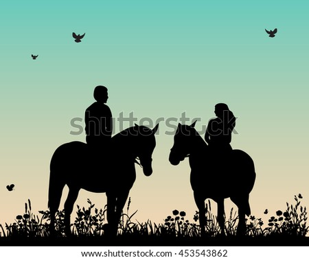 vector isolated silhouette of horse and rider,set