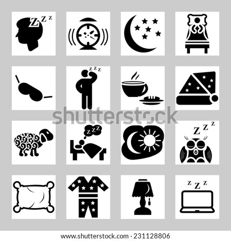 Vector isolated sleep concept icons set - stock vector
