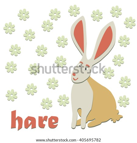 Vector isolated smiling cartoon hare with pink ears - stock vector