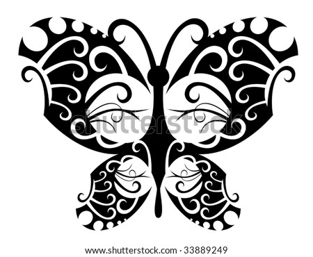 Vector. Isolated tattoo of beautiful black butterfly on white