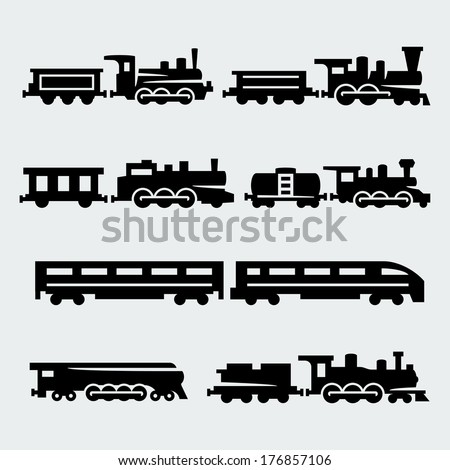 Vector isolated trains silhouettes set - stock vector