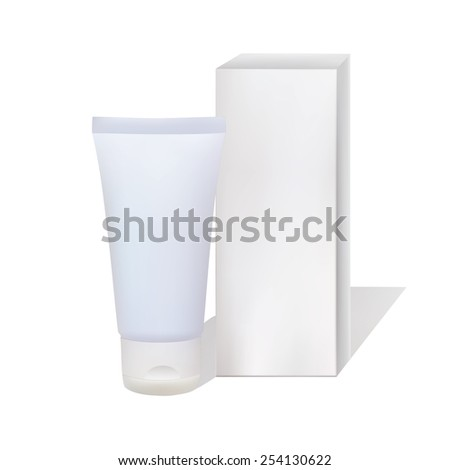 Vector isolated  tube and pack on a white background. - stock vector
