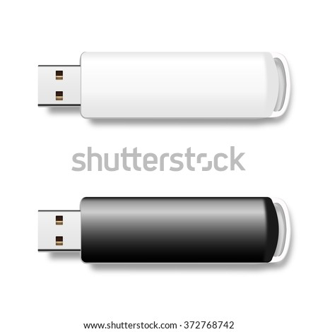 Vector isolated USB pen drives, black and white flash disks - stock vector