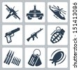 Vector isolated war icons set - stock vector