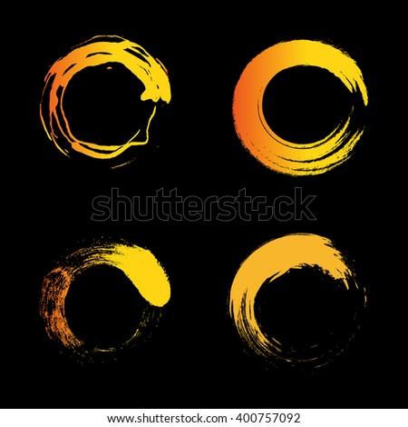 Vector isolated warm orange color logo. Unusual graphic hot design. Element emblem. Minimalist styled sun logo. Isolated sun. Vector sun. Orange sun. Sun collection. Sun set. Sunset set. Sunrise set.  - stock vector
