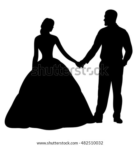 Vector isolated silhouette wedding bride groom stock vector vectorisolated wedding silhouette junglespirit Gallery