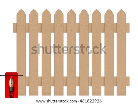 Vector isolated wooden fence or picket