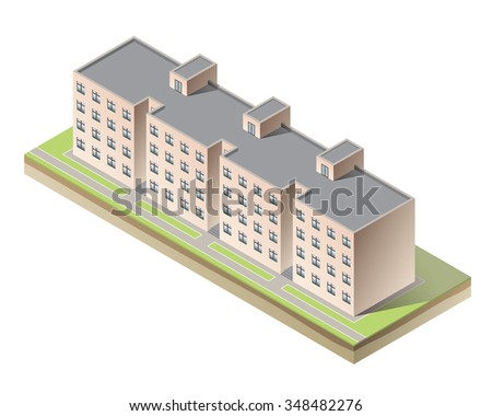 Vector isometric apartment building on white background. Simple isolated architecture icon - stock vector
