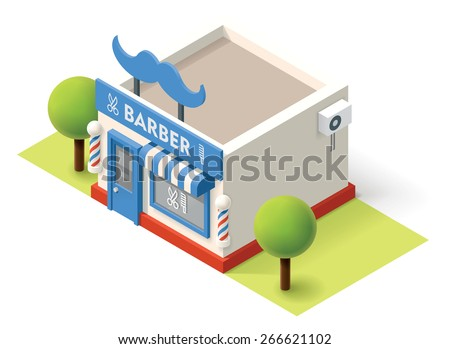 Vector isometric barbershop building icon - stock vector