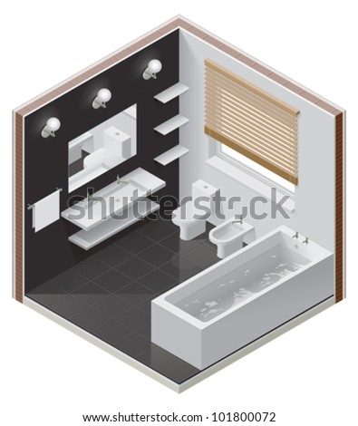 Vector isometric bathroom icon - stock vector