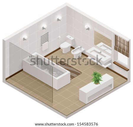 Vector isometric bathroom icon - stock vector