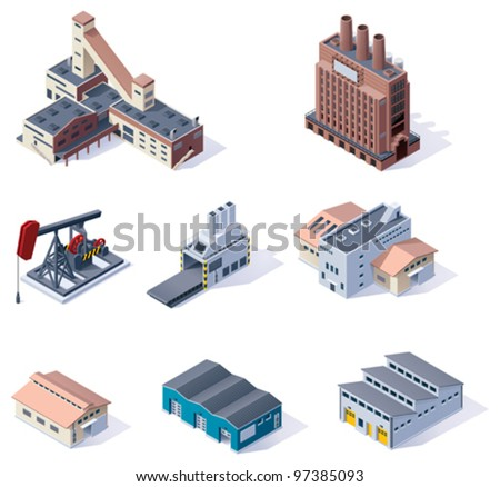 Vector isometric buildings icon set. Factories, plants, warehouse, conveyor and other industrial facilities - stock vector