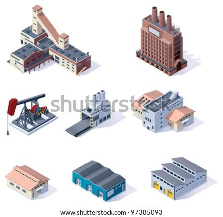 Vector isometric buildings. Industrial - stock vector