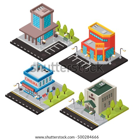 Vector isometric buildings set isolated. Convenience store supermarket isometric building. Gym fitness center isometric buildings design. Urban business construction design set.