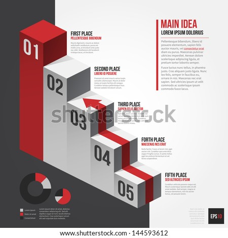 Vector isometric chart with 5 places. EPS10. - stock vector