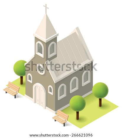 Vector isometric church building icon - stock vector