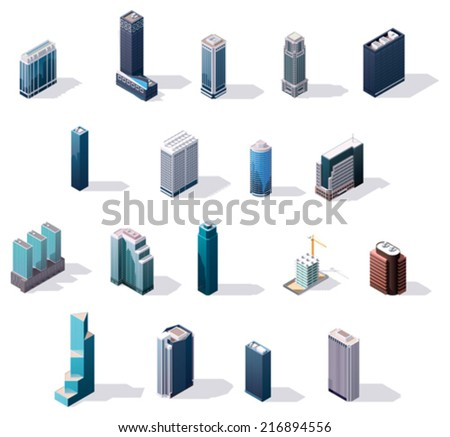 Vector isometric city center buildings set - stock vector