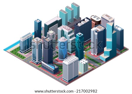Vector isometric city center map with skyscrapers, offices and stores - stock vector