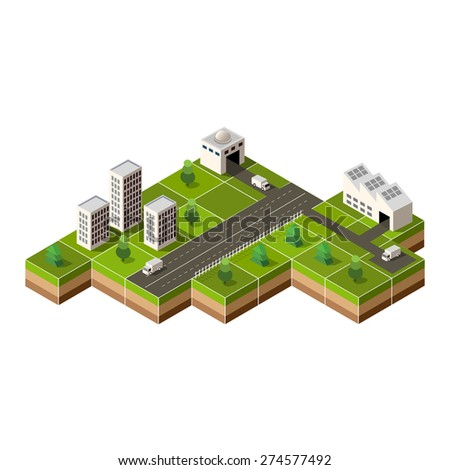 Vector isometric city center on the map with lots of buildings, - stock vector