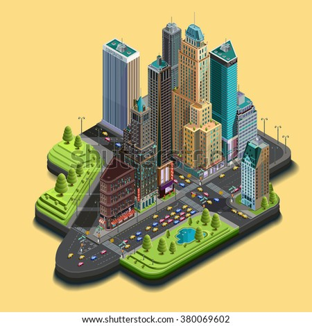 Vector isometric city map 3d, skyscraper district part of icons consisting of buildings, avenue, street intersections. Center building and park in the downtown. Top view - stock vector