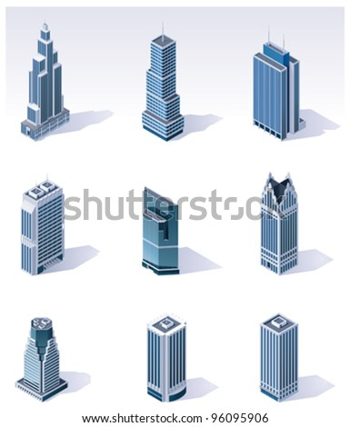 Vector isometric city skyscrapers buildings - stock vector