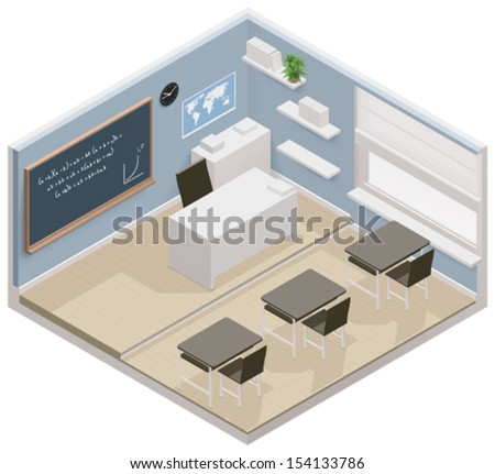 Vector isometric classroom icon - stock vector