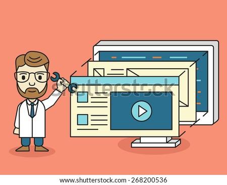 Vector isometric concept of development skeleton framework of a website. Mobile web design and user interface development - vector illustration - stock vector