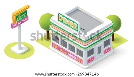 Vector isometric diner building icon - stock vector