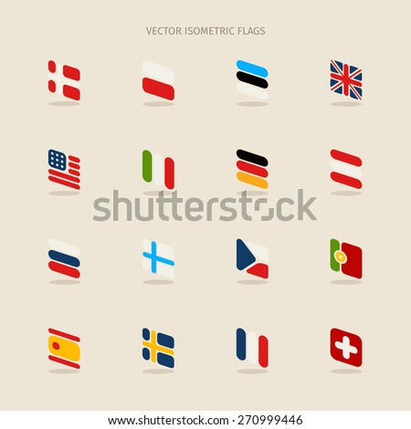 Vector isometric flags with rounded corners in simple style - stock vector