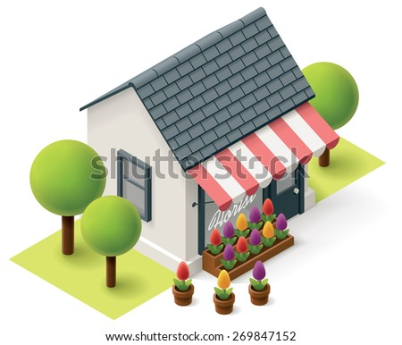 Vector isometric flower store building icon - stock vector