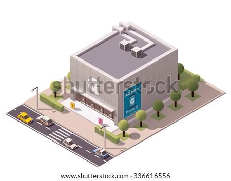 Vector isometric gadget store building icon - stock vector