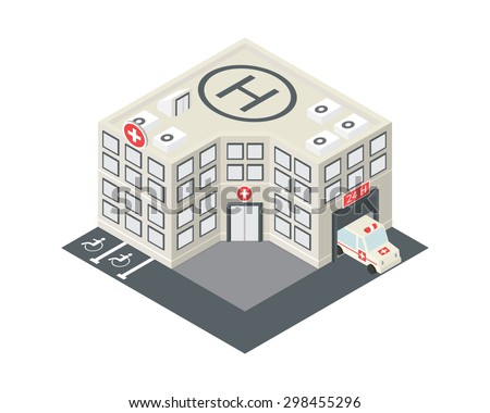 Vector isometric hospital building icon with emergency car and helipad on the roof - stock vector