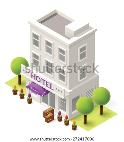 Vector isometric hotel building icon - stock vector