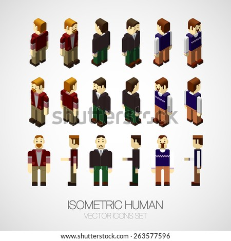 Vector isometric human set. Icon vector illustration EPS 10. Flat design