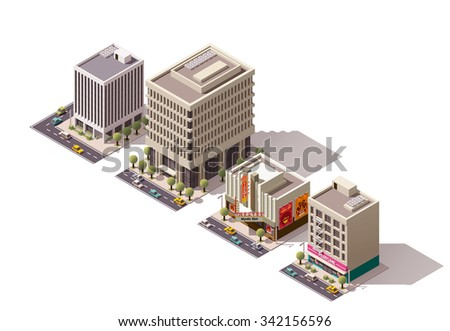 Vector isometric icon or infographic element representing city building, skyscraper, office, movie theater, shop, store house with street elements, road and cars - stock vector