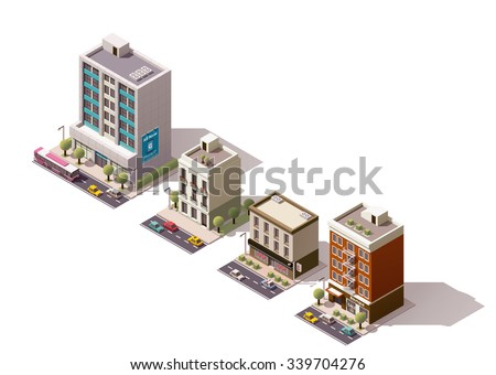 Vector isometric icon or infographic element representing city building, skyscraper, office or house with shop, store, street elements, road and cars - stock vector