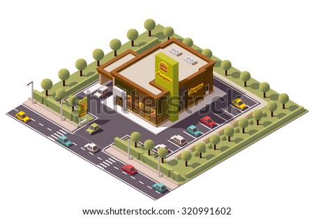 Vector Isometric icon or infographic element representing fast food restaurant or cafe with car parking, street, road, fast food advertising sign and cars - stock vector