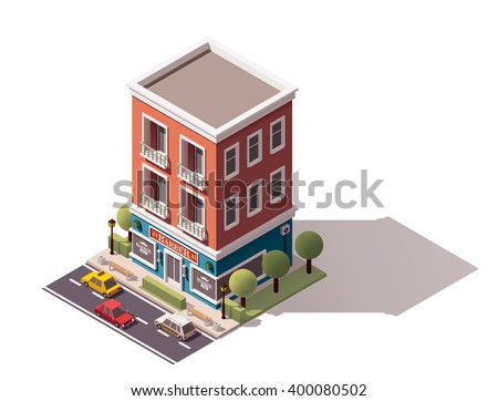 Vector isometric icon or infographic element representing low poly barber shop building, cars passing by the street