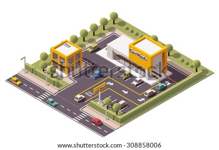 Vector isometric icon or infographic element representing low poly Car Wash building