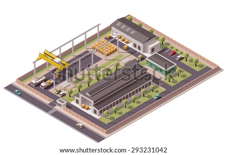 Vector isometric icon or infographic element representing low poly factory with industrial structures, warehouse and crane loading trucks - stock vector