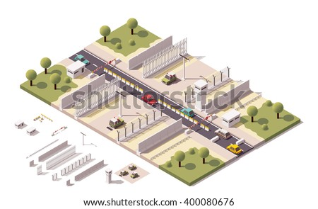 Vector Isometric icon or infographic element representing low poly guarded border fence, border guard patrol cars, barbed wire fences, guards tower, security equipment and constructions