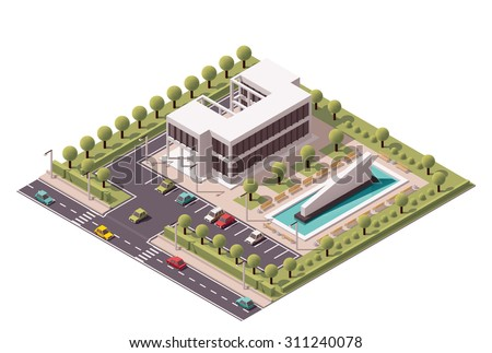 Vector isometric icon or infographic element representing low poly office building with fountain and car parking