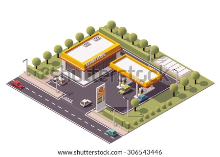 Vector isometric icon or infographic element representing low poly petroleum filling station and cars - stock vector