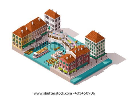 Vector isometric icon or infographic element representing low poly Rialto bridge over the canal with gondolas, Venice, Italy. Buildings, shops, stores nearby - stock vector