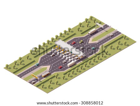 Vector isometric icon or infographic element representing low poly road payment checkpoint with toll barriers on the highway, cars and trucks passing by