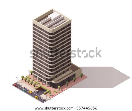 Vector isometric icon or infographic element representing low poly town skyscraper apartment and office building with street roads and cars for city map creation - stock vector
