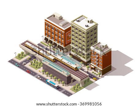 Vector Isometric icon or infographic element representing low poly urban elevated train railway with trains, station building, nearby street houses, and city public transport - cars, taxi and bus - stock vector