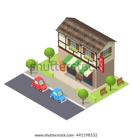 Vector isometric icon or infographic element representing old pub bar building on the street with cars and trees